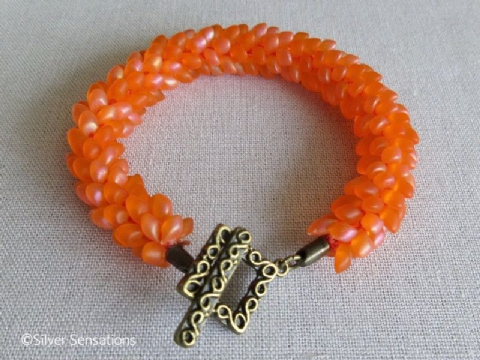 Zesty Orange Beaded & Woven Petals Kumihimo Seed Bead Bracelet